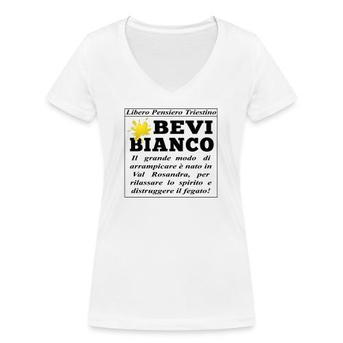 Bevi Bianco - T-shirt ecologica da donna con scollo a V di Stanley & Stella