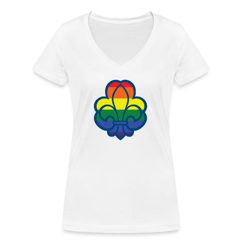 Regnbuespejder hvide t-shirts - Økologisk Stanley & Stella T-shirt med V-udskæring til damer