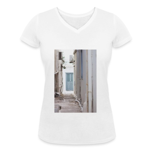empty street in Mykonos - Ekologiczna koszulka damska z dekoltem w serek Stanley & Stella