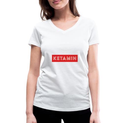 KETAMIN Rock Star - White/Red - Modern - Women's Organic V-Neck T-Shirt by Stanley & Stella