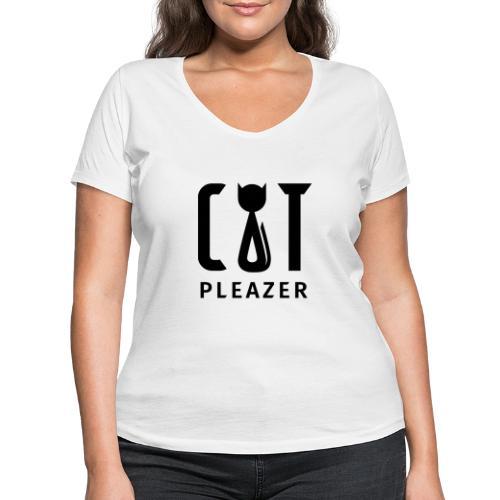 Cat Pleazer Schwarz - Frauen Bio-T-Shirt mit V-Ausschnitt von Stanley & Stella