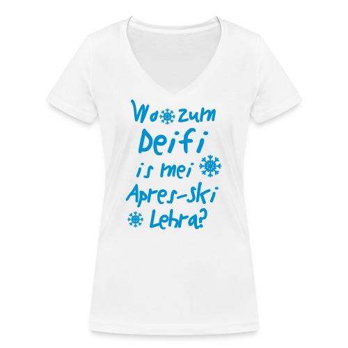 Wintershirt Wo zum Deifi is mei ApresSki Lehra? - Frauen Bio-T-Shirt mit V-Ausschnitt von Stanley & Stella