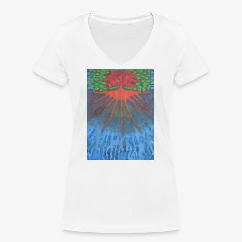 Drzewo Źycia - Ekologiczna koszulka damska z dekoltem w serek Stanley & Stella