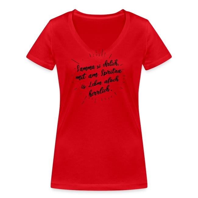 Vorschau: Samma si ehrlich mit am Spritza is Lebm herrlich - Frauen Bio-T-Shirt mit V-Ausschnitt von Stanley &