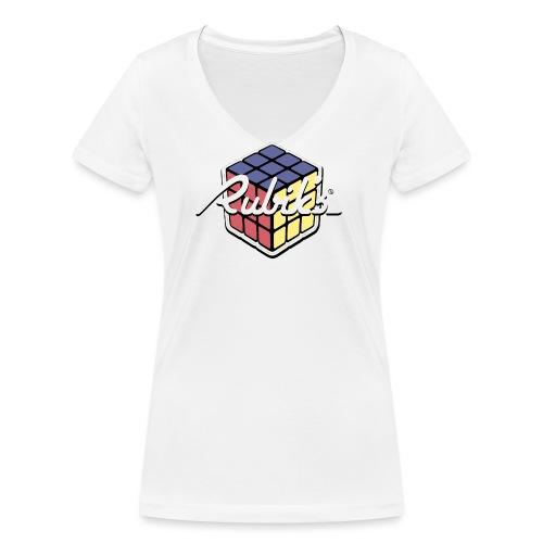 Rubik's Cube Retro Style - Women's Organic V-Neck T-Shirt by Stanley & Stella