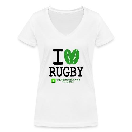 ILoveRugby png - T-shirt bio col V Stanley & Stella Femme