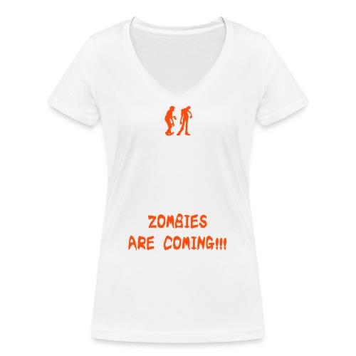 Zombie Keep Calm - T-shirt ecologica da donna con scollo a V di Stanley & Stella