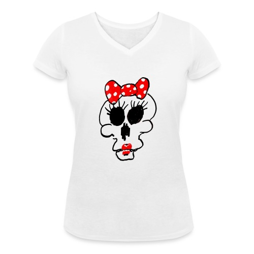 Crâne Minnie par Jack M. - T-shirt bio col V Stanley & Stella Femme