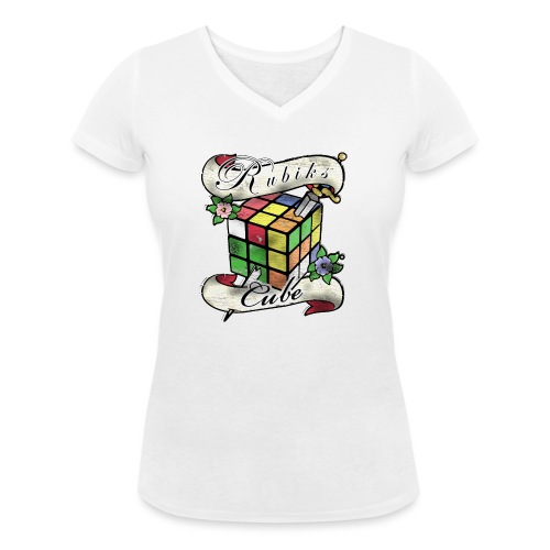 Rubik's Cube Tatoo - Women's Organic V-Neck T-Shirt by Stanley & Stella