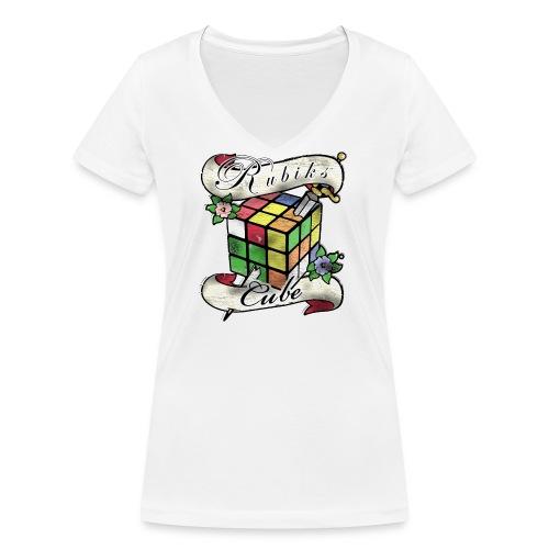 Rubik's Cube Tatoo - Ekologisk T-shirt med V-ringning dam från Stanley & Stella