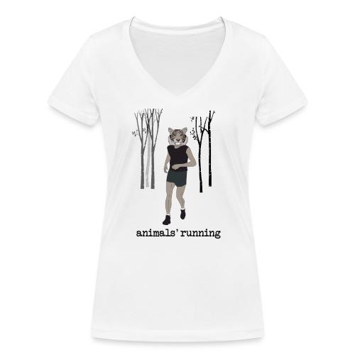 Tigre gris running - T-shirt bio col V Stanley & Stella Femme