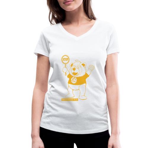 FUPO der Bär. Druckfarbe Orange - Frauen Bio-T-Shirt mit V-Ausschnitt von Stanley & Stella