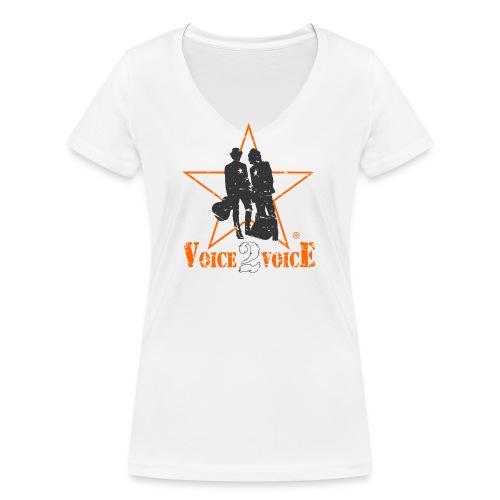 voice2voice logo used 2 mit rahmen141220 - Frauen Bio-T-Shirt mit V-Ausschnitt von Stanley & Stella