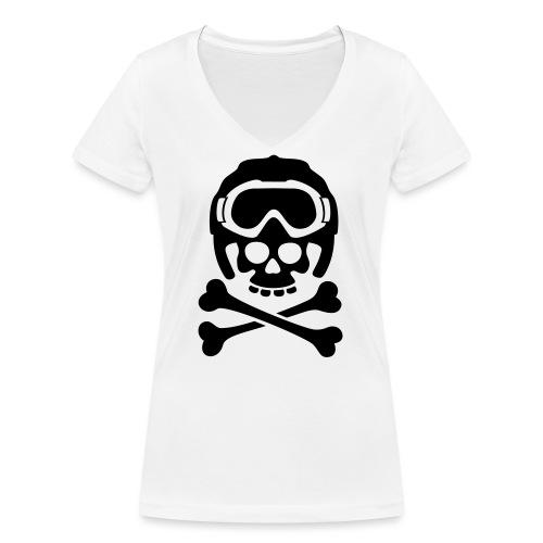 snowboard totenkopf1 - Frauen Bio-T-Shirt mit V-Ausschnitt von Stanley & Stella