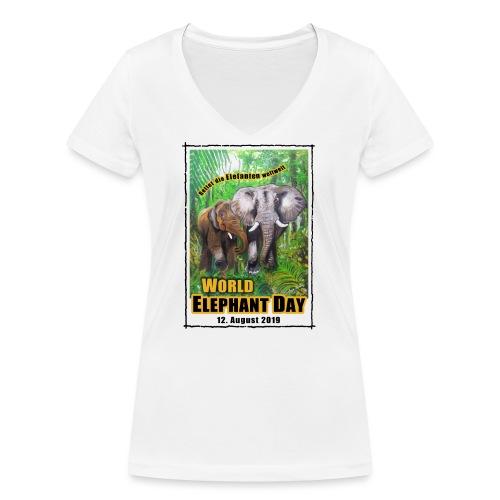 Welt-Elefanten-Tag 12. August 2019 - Frauen Bio-T-Shirt mit V-Ausschnitt von Stanley & Stella