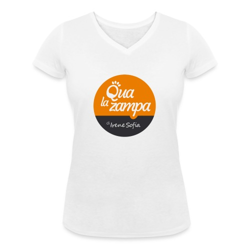Logo Qua la Zampa - T-shirt ecologica da donna con scollo a V di Stanley & Stella