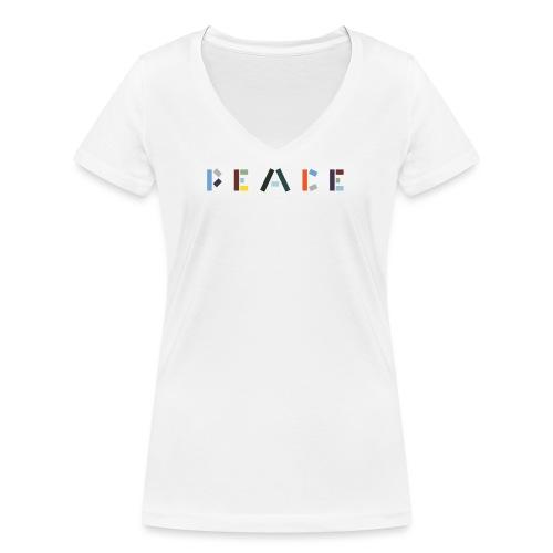Peace på skrift - Økologisk Stanley & Stella T-shirt med V-udskæring til damer