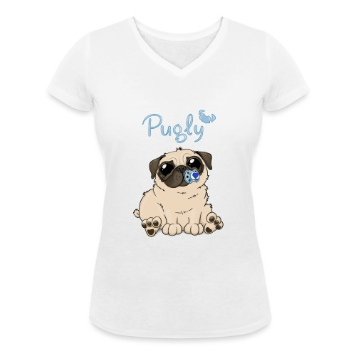 Bobo Pug - Ekologisk T-shirt med V-ringning dam från Stanley & Stella