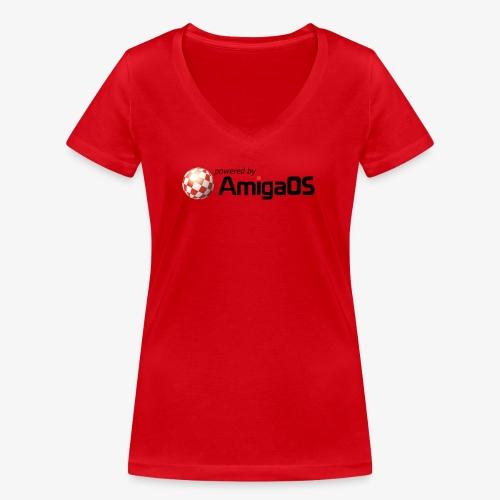 PoweredByAmigaOS Black - Women's Organic V-Neck T-Shirt by Stanley & Stella
