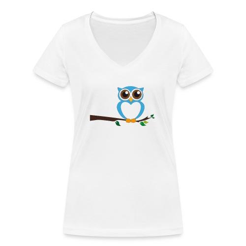 Blaue Eule - Frauen Bio-T-Shirt mit V-Ausschnitt von Stanley & Stella