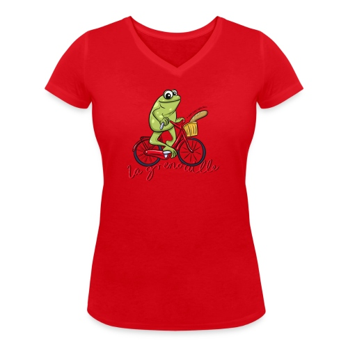 frog boopee black large - Women's Organic V-Neck T-Shirt by Stanley & Stella