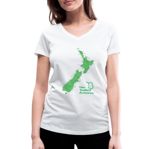 New Zealand's Map - Women's Organic V-Neck T-Shirt by Stanley & Stella