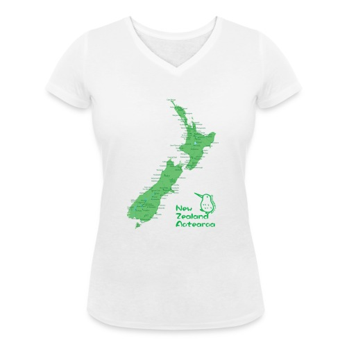 New Zealand's Map - Women's Organic V-Neck T-Shirt by Stanley & Stella