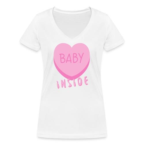 Baby Inside Pink Heart - Frauen Bio-T-Shirt mit V-Ausschnitt von Stanley & Stella