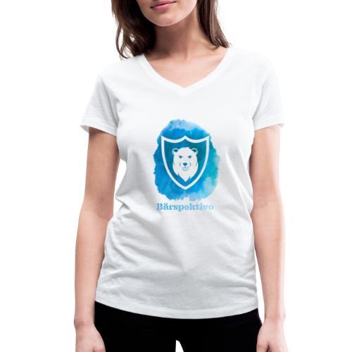 Baerspektivo inkl. Schriftzug in Blau Aquarell - Frauen Bio-T-Shirt mit V-Ausschnitt von Stanley & Stella