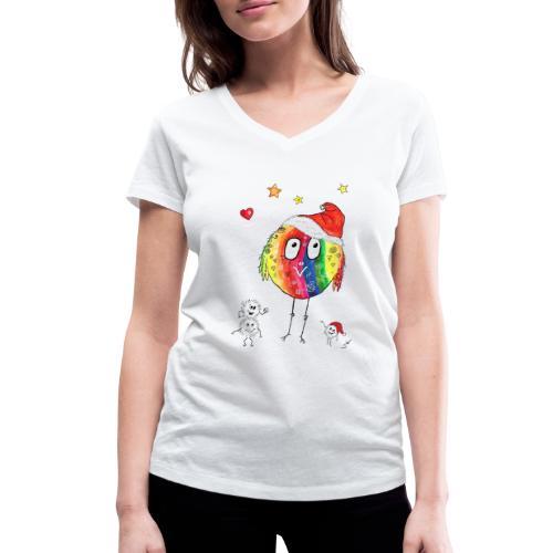 Happy Weihnachtskugelbird - Frauen Bio-T-Shirt mit V-Ausschnitt von Stanley & Stella