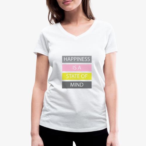 Happiness - T-shirt ecologica da donna con scollo a V di Stanley & Stella