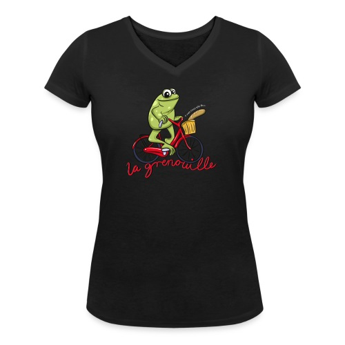 frog boopee white large - Women's Organic V-Neck T-Shirt by Stanley & Stella