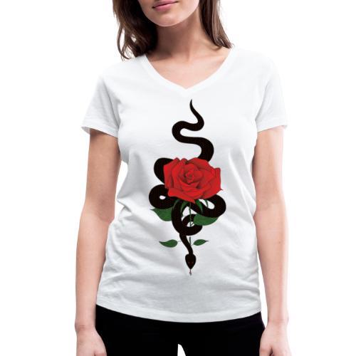 Serpiente y rosa - Camiseta ecológica mujer con cuello de pico de Stanley & Stella