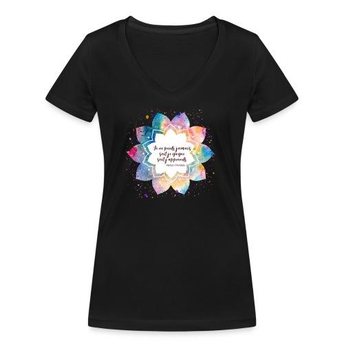 Citation de Nelson Mandela - T-shirt bio col V Stanley & Stella Femme