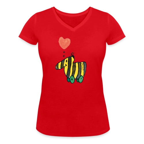 Janoschs Tigerente mit Herz - Frauen Bio-T-Shirt mit V-Ausschnitt von Stanley & Stella