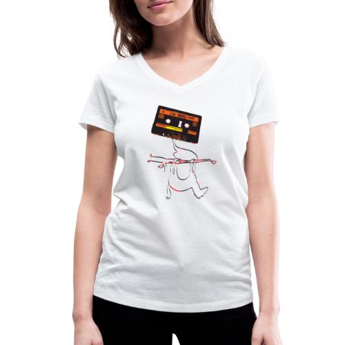 Lui Paard CassetteDemoGra - Vrouwen bio T-shirt met V-hals van Stanley & Stella