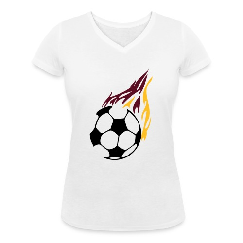 Football - Women's Organic V-Neck T-Shirt by Stanley & Stella