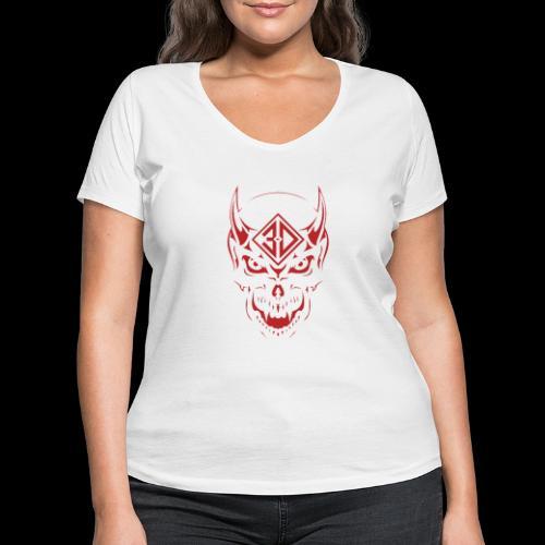devil skull red - T-shirt bio col V Stanley & Stella Femme