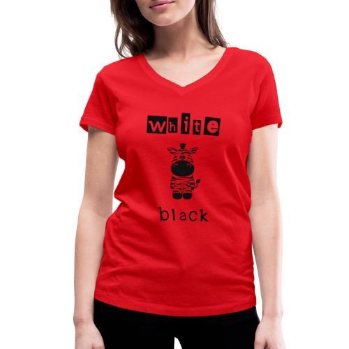 Zebra black or white - Frauen Bio-T-Shirt mit V-Ausschnitt von Stanley & Stella