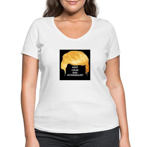 Keep Calm And Kitemmuort Capelli Trump - T-shirt ecologica da donna con scollo a V di Stanley & Stella