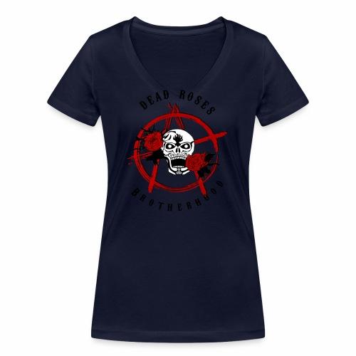 Dead Roses Anarchy Skull Black - Women's Organic V-Neck T-Shirt by Stanley & Stella