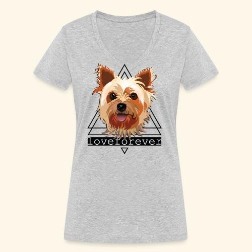 YORKIE LOVE FOREVER - Camiseta ecológica mujer con cuello de pico de Stanley & Stella