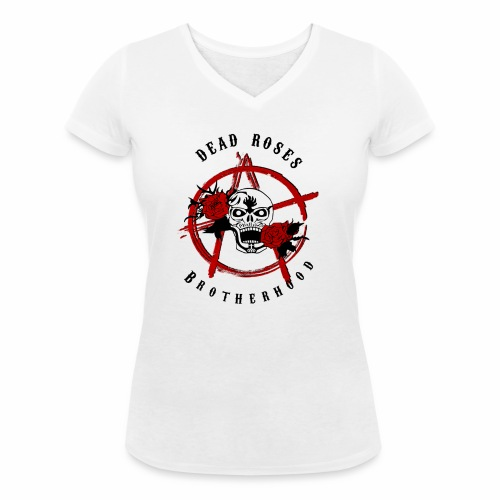 Dead Roses Anarchy Skull Black - Women's Organic V-Neck T-Shirt by Stanley & Stella