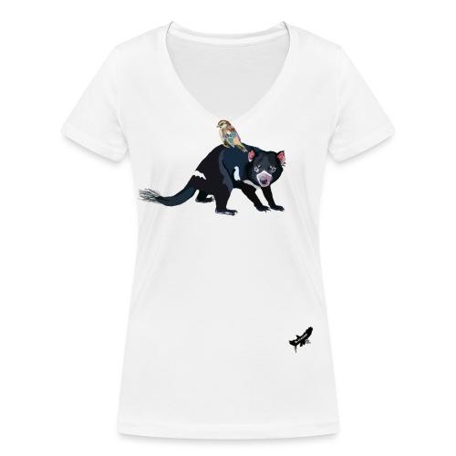 Hitching a Ride on the Devil by BlackenedMoonArts - Økologisk Stanley & Stella T-shirt med V-udskæring til damer