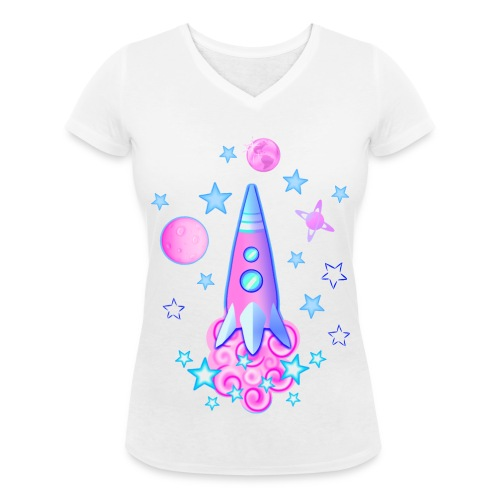 pink space rocket with stars and planets - Women's Organic V-Neck T-Shirt by Stanley & Stella