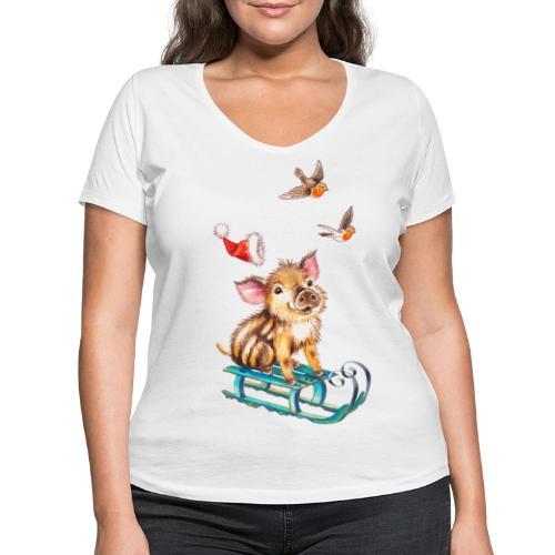 biggetje op slee - Women's Organic V-Neck T-Shirt by Stanley & Stella