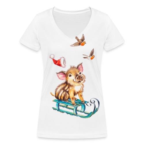biggetje op slee - Vrouwen bio T-shirt met V-hals van Stanley & Stella