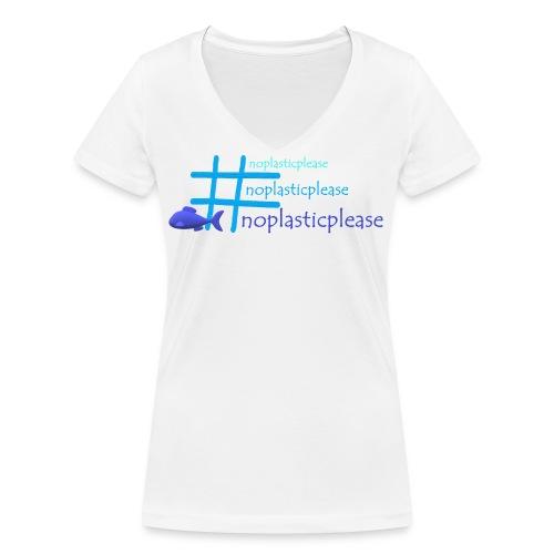 #noplasticplease - Vrouwen bio T-shirt met V-hals van Stanley & Stella