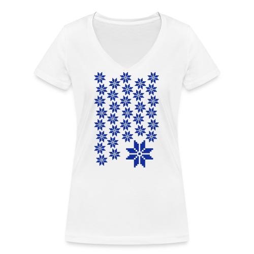 33 Schneeflocken Norweger Muster - Frauen Bio-T-Shirt mit V-Ausschnitt von Stanley & Stella