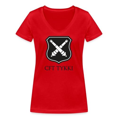 Tykki logo musta - Stanley & Stellan naisten v-aukkoinen luomu-T-paita